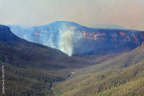 Fires burning in Grose Valley Blue Mountains