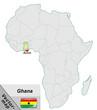Постер, плакат: Inselkarte von Ghana mit Hauptst