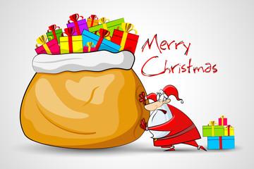 vector illustration of Santa pushing sack full of Christmas gift