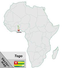 Inselkarte von Togo mit Hauptstädten in Pastelgrün