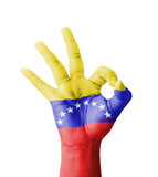 Hand making Ok sign, Venezuela flag painted