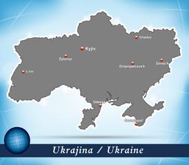 Inselkarte von Ukraine Abstrakter Hintergrund in Blau