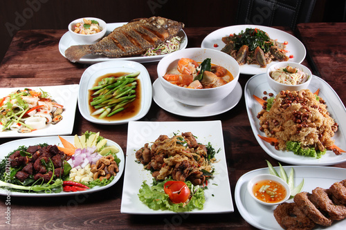 Set of Thai food menu Poster