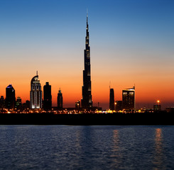 Dubai skyline at dusk seen from the Gulf Coast