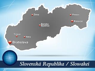 Inselkarte von Slowakei Abstrakter Hintergrund in Blau