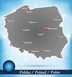 Inselkarte von Polen Abstrakter Hintergrund in Blau