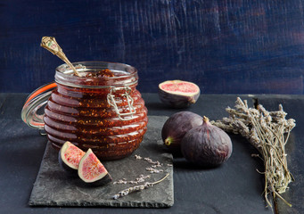 Jam from fresh figs with lavender