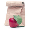 apple with apple juice and paper bag on a white background