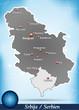 Inselkarte von Serbien Abstrakter Hintergrund in Blau