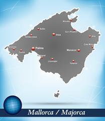 Inselkarte von Mallorca Abstrakter Hintergrund in Blau