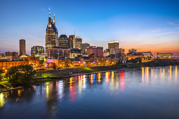 Nashville, Tennessee above the Cumberland River