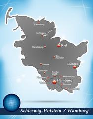 Inselkarte von Schleswig-Holstein Abstrakter Hintergrund in Blau