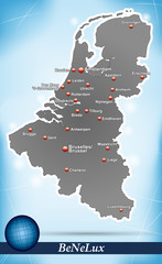 Inselkarte von BeNeLux-Laender Abstrakter Hintergrund in Blau