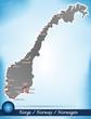 Inselkarte von Norwegen Abstrakter Hintergrund in Blau