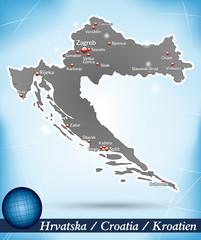 Inselkarte von Kroatien Abstrakter Hintergrund in Blau
