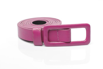 Pink Artificial leather belt on White background