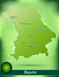 Inselkarte von Bayern Abstrakter Hintergrund in Grün