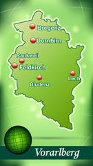 Inselkarte von vorarlberg Abstrakter Hintergrund in Grün