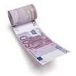 rolled pack of euros