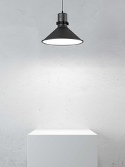 podium and lamp