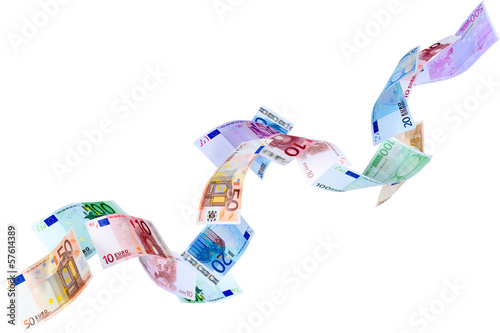 Falling Euro banknotes isolated on white
