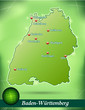 Inselkarte von Baden-Wuerttemberg Abstrakter Hintergrund in Grün