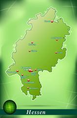 Inselkarte von Hessen Abstrakter Hintergrund in Grün
