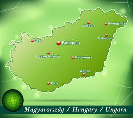 Inselkarte von Ungarn Abstrakter Hintergrund in Grün