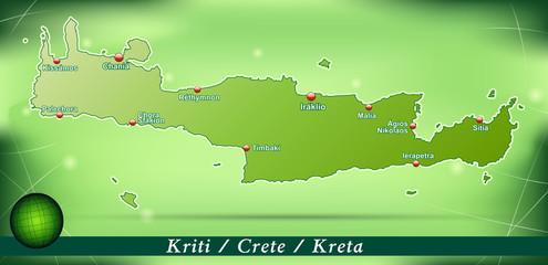 Inselkarte von Kreta Abstrakter Hintergrund in Grün