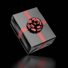 Black Gift Box with Ribbon
