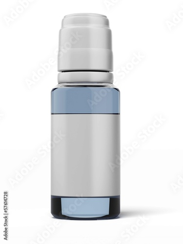 glass bottle with blue syrup