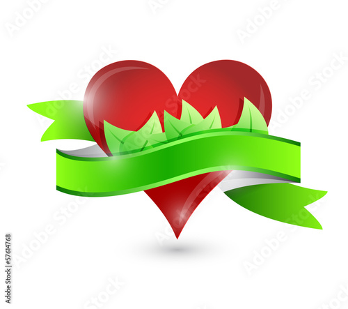 eco natural heart illustration design