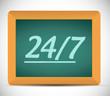 24 7 message on a chalkboard illustration