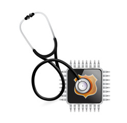 stethoscope and electronic chip illustration