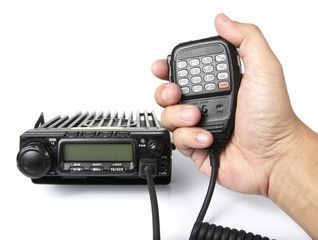 Mobile radio transceiver with hand holding microphone