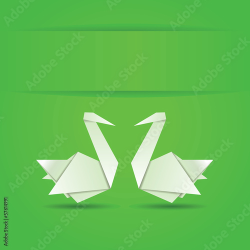Deurstickers Geometrische dieren Origami swans on green background
