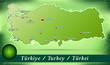 Inselkarte von Tuerkei Abstrakter Hintergrund in Grün