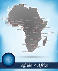 Inselkarte von Afrika Abstrakter Hintergrund in Blau
