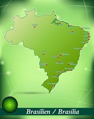 Inselkarte von Brasilien Abstrakter Hintergrund in Grün