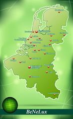 Inselkarte von BeNeLux-Laender Abstrakter Hintergrund in Grün