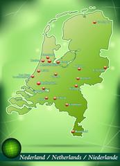 Inselkarte von Niederlande Abstrakter Hintergrund in Grün
