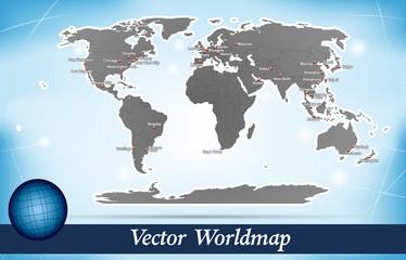 Inselkarte von Welt Abstrakter Hintergrund in Blau