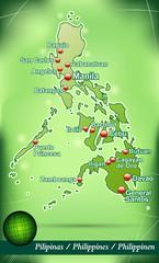 Inselkarte von Philippinen Abstrakter Hintergrund in Grün