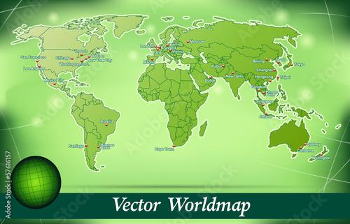 Inselkarte von Welt Abstrakter Hintergrund in Grün
