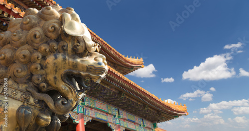 bronze Chinese dragon statue in the Forbidden City. Beijing