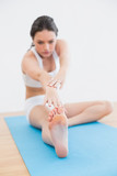 Toned woman doing the hamstring stretch on exercise mat in fitne poster