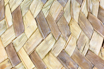 A very close view of woven straw