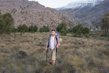 Man with backpack and trekking poles on forest landscape