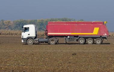 Industrial truck on field