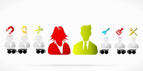Business couple brainwash propaganda pattern illustration